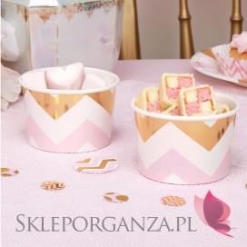 Kolekcja Baby Shower Różowe Groszki/ Chevron Pojemniki różowo-złote CHEVRON, 8szt.