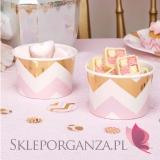 Kolekcja Baby Shower Różowe Groszki i Chevron na Baby Shower Pojemniki różowo-złote CHEVRON, 8szt.