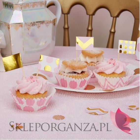 Kolekcja Baby Shower Różowe Groszki i Chevron na Baby Shower Pikery różowo-złote KOLEKCJA GROSZKI/CHEVRON, 20szt.