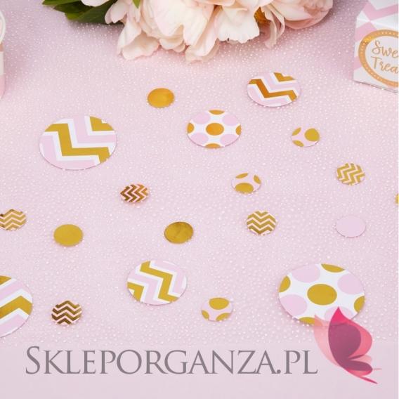 Kolekcja Baby Shower Różowe Groszki i Chevron na Baby Shower Konfetti różowo-złote KOLEKCJA GROSZKI/CHEVRON