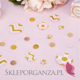 Kolekcja Baby Shower Różowe Groszki/ Chevron Konfetti różowo-złote KOLEKCJA GROSZKI/CHEVRON