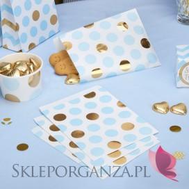 Kolekcja Baby Shower Niebieskie Groszki i Chevron na Baby Shower Torebka niebiesko-złote GROSZKI