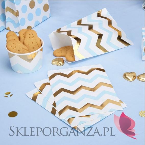 Kolekcja Baby Shower Niebieskie Groszki i Chevron na Baby Shower Torebka niebiesko-złota CHEVRON