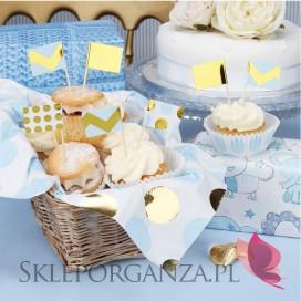 Kolekcja Baby Shower Niebieskie Groszki/Chevron Pikery niebiesko-złote KOLEKCJA GROSZKI/CHEVRON, 20szt.