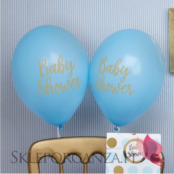 Kolekcja Baby Shower Niebieskie Groszki i Chevron na Baby Shower Balony niebieskie BABY SHOWER KOLEKCJA GROSZKI/CHEVRON 8szt.