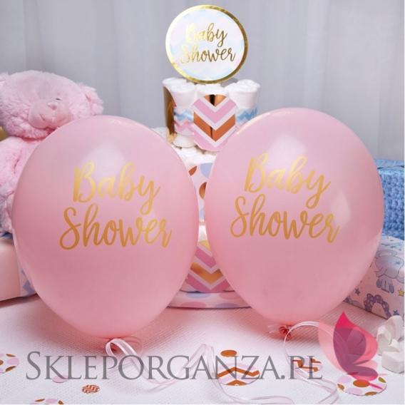 Kolekcja Baby Shower Różowe Groszki i Chevron na Baby Shower Balony różowe BABY SHOWER KOLEKCJA GROSZKI/CHEVRON 8szt.
