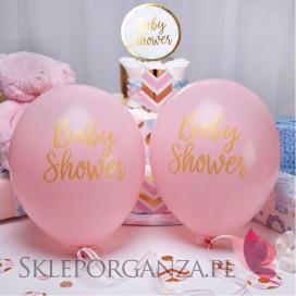 Balony różowe BABY SHOWER KOLEKCJA GROSZKI/CHEVRON 8szt.