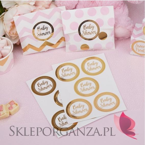 Kolekcja Baby Shower Różowe Groszki i Chevron na Baby Shower Etykiety złote BABY SHOWER KOLEKCJA GROSZKI/CHEVRON, 25szt.