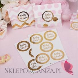 Etykiety złote BABY SHOWER KOLEKCJA GROSZKI/CHEVRON, 25szt.