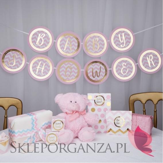 Kolekcja Baby Shower Różowe Groszki i Chevron na Baby Shower Baner różowo-złoty BABY SHOWER CHEVRON