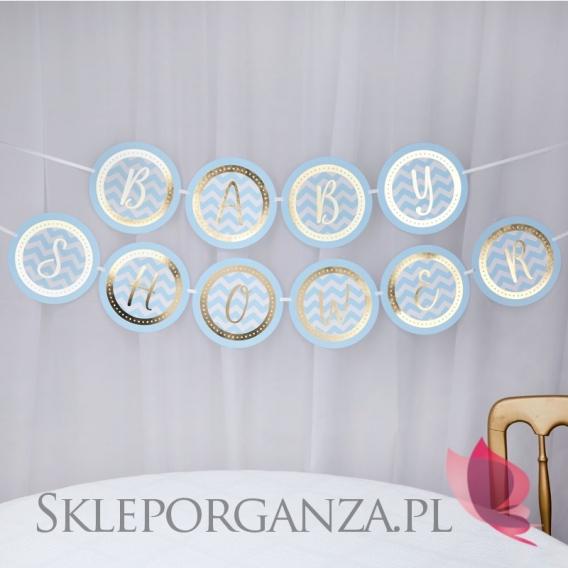 Kolekcja Baby Shower Niebieskie Groszki i Chevron na Baby Shower Baner niebiesko-złoty BABY SHOWER CHEVRON