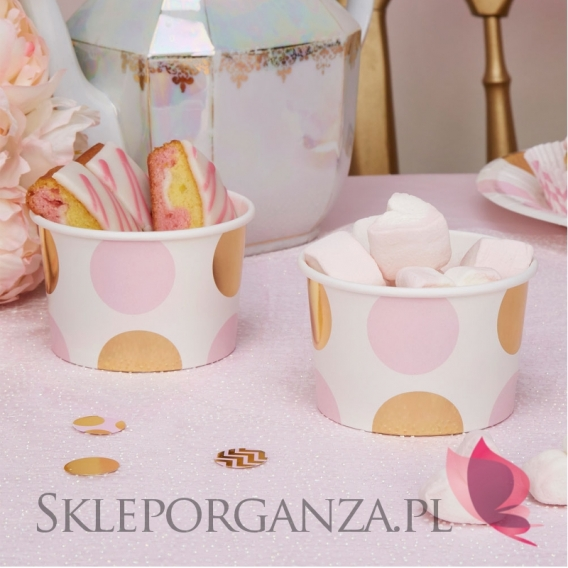 Kolekcja Baby Shower Różowe Groszki i Chevron na Baby Shower Pojemniki różowo-złote GROSZKI, 8szt.