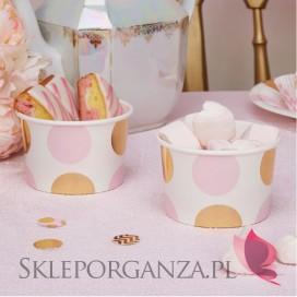Kolekcja Baby Shower Różowe Groszki/ Chevron Pojemniki różowo-złote GROSZKI, 8szt.