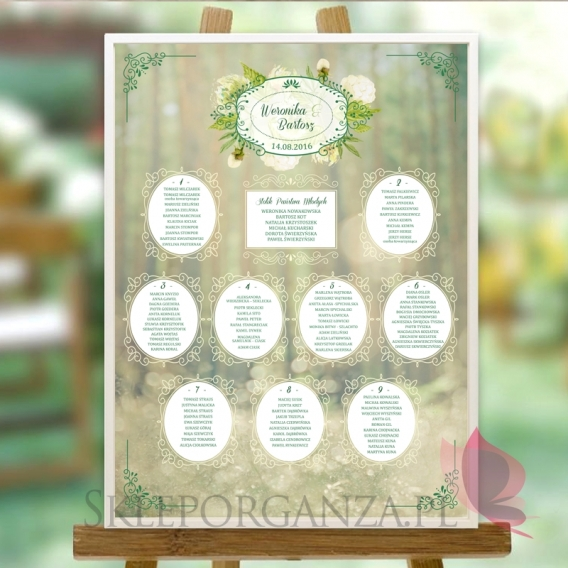 WOODLAND Plan stołów - personalizacja kolecja WOODLAND