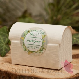 Pudełko kuferek śmietankowy - personalizacja kolekcja WOODLAND