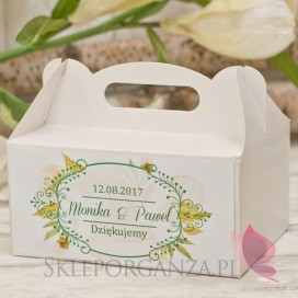 Pudełko na ciasto - personalizacja kolekcja WOODLAND WHITE