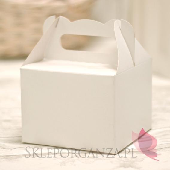 Pudełka weselne na ciasto Pudełko na CIASTO białe średnie