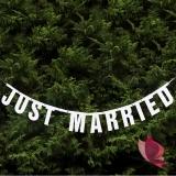 Baner Just Married biały