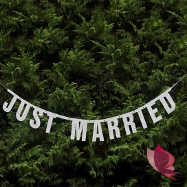 Baner Just Married srebrny