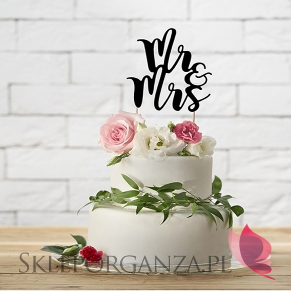 Toppery Topper na tort – Mr&Mrs czarny
