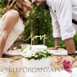 Toppery Topper na tort – LOVE złoty