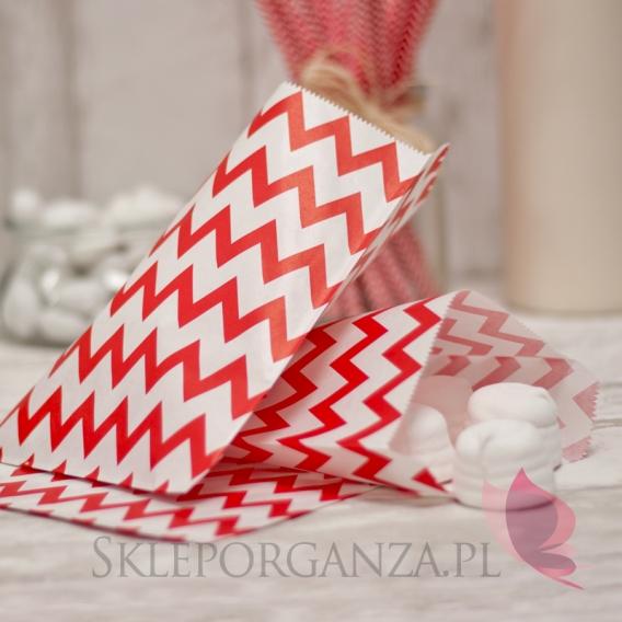 Pudełka i Torebki Papierowa torebka CHEVRON czerwona