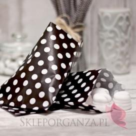 Papierowa torebka KROPKI czarna