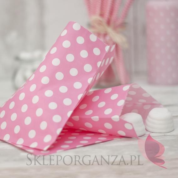 Pudełka i Torebki Papierowa torebka KROPKI różowa