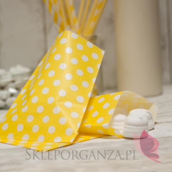 Pudełka i Torebki Papierowa torebka KROPKI żółta