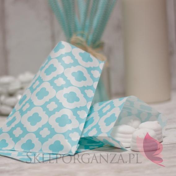 Pudełka i Torebki Papierowa torebka ORNAMENT jasnoniebieska