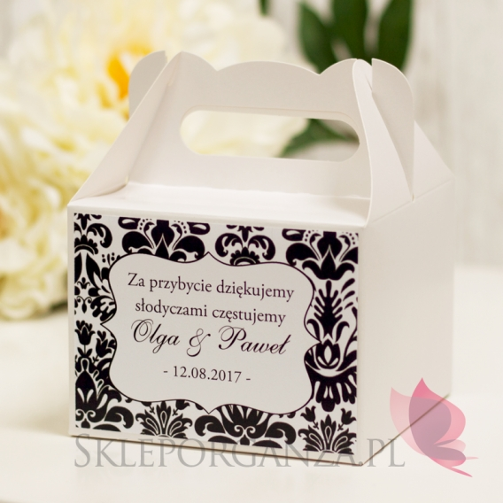 Pudełka weselne na ciasto personalizowane Pudełko na ciasto średnie - personalizacja kolekcja DAMASK