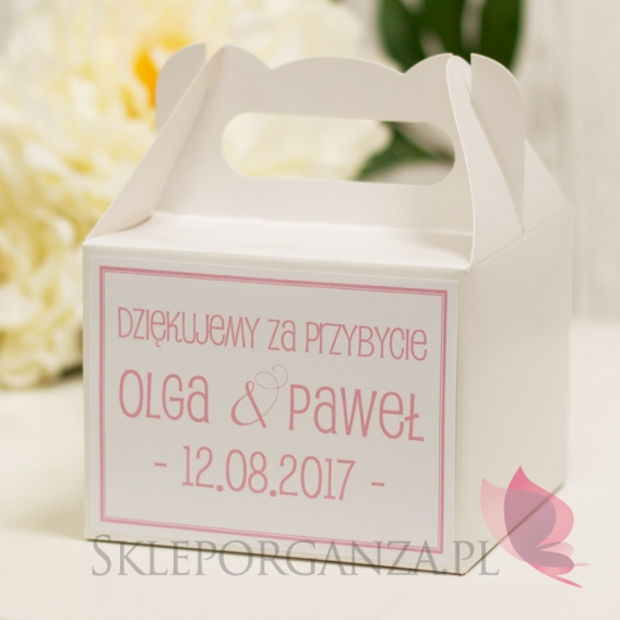 Pudełka weselne na ciasto personalizowane Pudełko na ciasto średnie - personalizacja kolekcja LOVE
