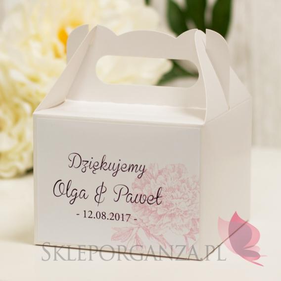 Pudełka weselne na ciasto personalizowane Pudełko na ciasto średnie - personalizacja kolekcja PIWONIA