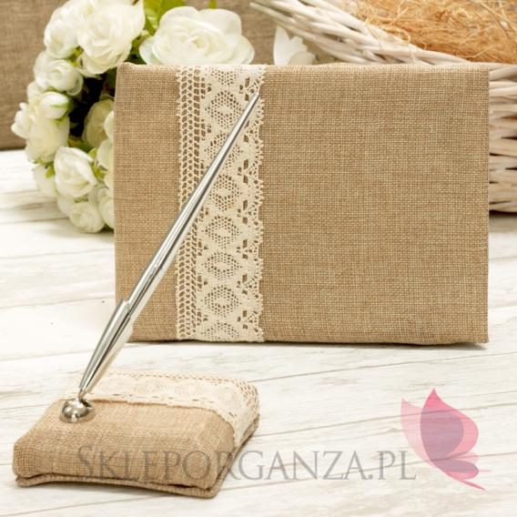 Tradycyjne Zestaw księga gości + długopis z podstawką VINTAGE koronka kremowa