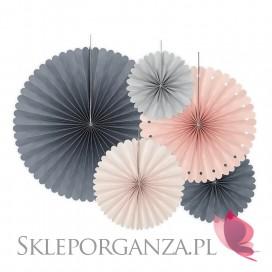 Rozety dekoracyjne szaro-różowe, 5szt.