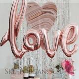 Balony foliowe na wesele Balony love metaliczne rose gold