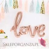 Balony love meteliczne rose gold