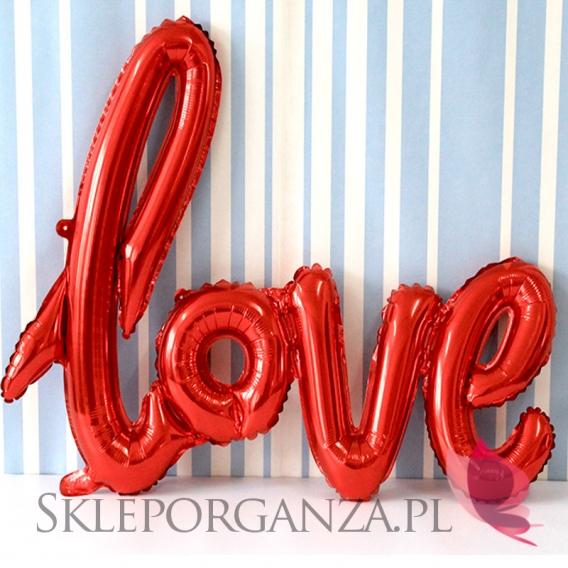Balony love metaliczne czerwone