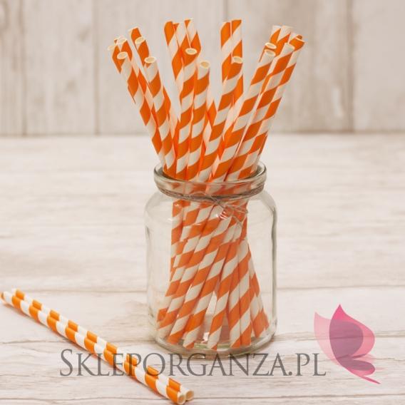 Papierowe słomki pomarańczowe PASKI 25szt.