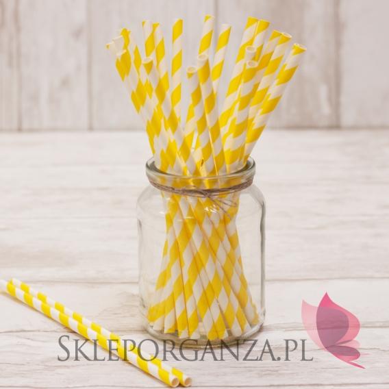 Papierowe słomki żółte PASKI 25szt.