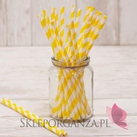 Papierowe słomki żółte PASKI 25szt