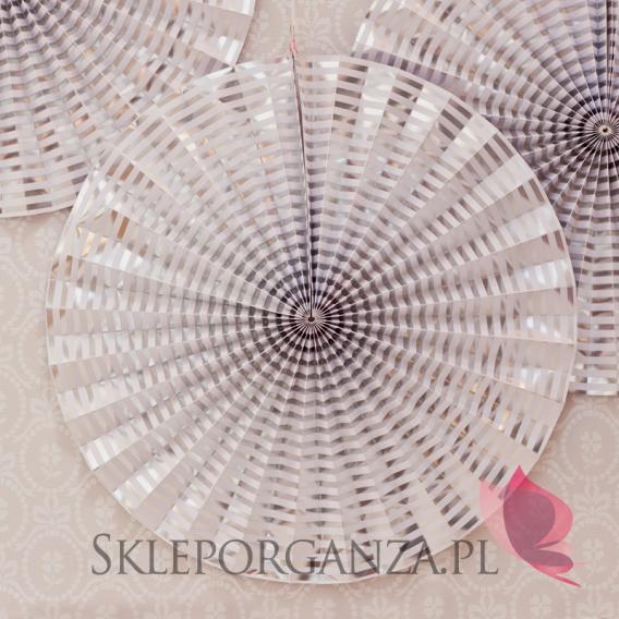 Rozety metaliczne Rozetka metaliczna srebrne paseczki 44cm