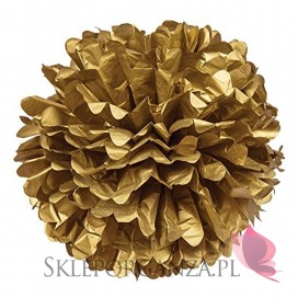 Papierowy kwiat metaliczny, złoty, 50cm