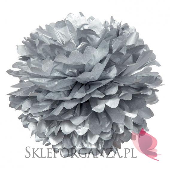 Papierowe kule kwiatowe pompony Papierowy kwiat metaliczny, srebrny, 50cm