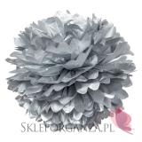 Papierowy kwiat metaliczny, srebrny, 50cm