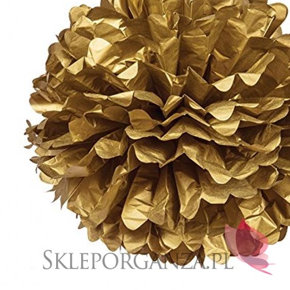 Papierowe kule kwiatowe pompony Papierowy kwiat metaliczny, złoty, 35cm