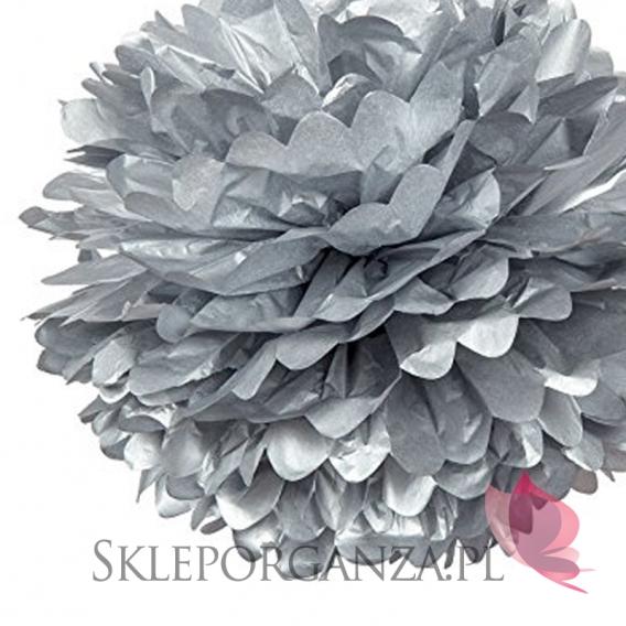 Papierowe kule kwiatowe pompony Papierowy kwiat metaliczny, srebrny, 35cm