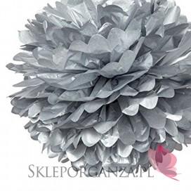 Papierowy kwiat, metaliczny, srebrny, 35cm
