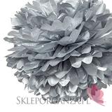 Papierowy kwiat metaliczny, srebrny, 35cm