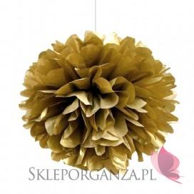 Papierowe kule kwiatowe pompony Papierowy kwiat metaliczny, złoty, 25cm